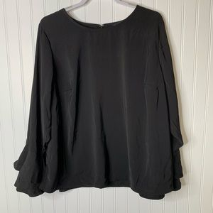 Eloquii black long sleeve career blouse size 22